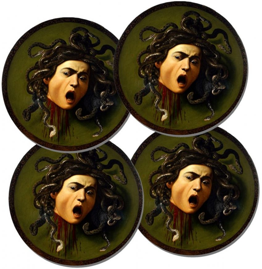 Caravaggio Medusa Round Coasters Set Of 4 High Quality Cork. Italian Renaissance
